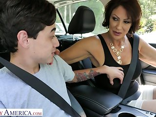 Lewd stepmom Vanessa Videl gives a blowjob and gets her pussy nailed