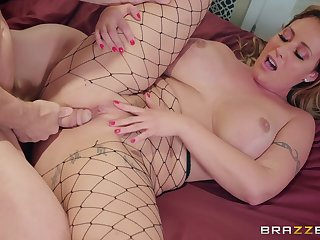 Eva Notty in black fishnets is humped by Johnny Sins