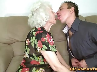 Grandma porn star Norma nailing her boy toy.